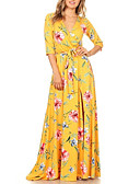 cheap Women's Dresses-Women's Plus Size Holiday Boho Sheath Dress - Floral Split High Rise Maxi Deep V