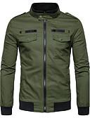 preiswerte Herrenjacken & Herrenmäntel-Herrn Einfarbig Street Schick Alltag Standard Jacke, Ständer Winter Herbst Polyester
