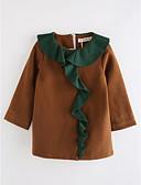 preiswerte Kleidersets für Mädchen-Mädchen Kleid Solide Baumwolle Herbst Langarm Einheitliche Farbe Braun