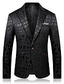 cheap Men's Shirts-Men's Sophisticated Blazer-Solid Colored Notch Lapel / Long Sleeve