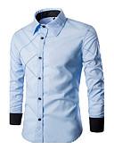 cheap Men's Tees & Tank Tops-Men's Plus Size Cotton Shirt - Striped / Plaid Standing Collar / Long Sleeve