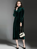 baratos Vestidos Femininos-Mulheres Para Noite Vintage / Sofisticado Veludo Solto Solto Vestido Sólido Gola Alta Médio