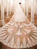رخيصةأون طرحات الزفاف-One-tier الحجاب الزفاف Cathedral Veils مع زينة دانتيل / تول / Angel cut / Waterfall