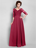 cheap Mother of the Bride Dresses-A-Line V Neck Floor Length Chiffon / Lace Mother of the Bride Dress with Beading / Draping / Lace by LAN TING BRIDE® / Illusion Sleeve