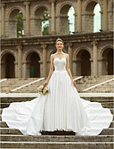 cheap Wedding Dresses-A-Line Strapless Asymmetrical Satin Made-To-Measure Wedding Dresses with Side Draping / Button by LAN TING BRIDE® / Open Back