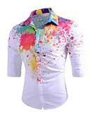 baratos Camisas Masculinas-Homens Camisa Social Estampado, Geométrica Algodão Colarinho Clássico Delgado / Manga Longa