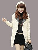 cheap Women's Sweaters-Women's Daily Solid Colored Long Sleeve Long Cardigan, Hooded Spring &  Fall / Winter Wool Red / Beige / Khaki One-Size