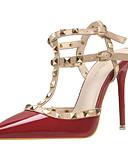 cheap Women's Blouses-Women's Shoes PU(Polyurethane) Spring / Summer Comfort / Novelty Heels Pointed Toe Rivet / Buckle Purple / Red / Burgundy / Wedding
