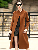 cheap Women's Sweaters-Women's Work Wool Coat - Solid Colored Stand