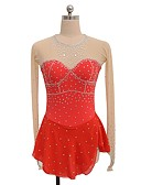 cheap Ice Skating Dresses , Pants & Jackets-Figure Skating Dress Women's / Girls' Ice Skating Dress Red Spandex Stretchy Competition Skating Wear Handmade Sequin / Hollow Long Sleeve Figure Skating