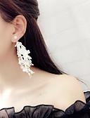 tanie Suknie balowe-Damskie Frędzel Długie Kolczyki drop - Frędzel, Koreański, Moda Biały / Czarny Na Impreza Codzienny