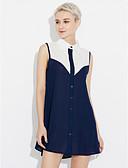 baratos Mini Vestidos-Mulheres Praia Camisa Vestido Estampa Colorida Decote Quadrado