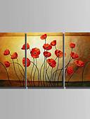 billige Ballkjoler-Hang malte oljemaleri Håndmalte - Abstrakt Abstrakt Lerret / Tre Paneler / Stretched Canvas