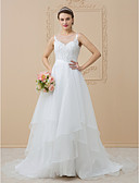 cheap Wedding Dresses-A-Line Illusion Neck Sweep / Brush Train Chiffon / Beaded Lace Made-To-Measure Wedding Dresses with Appliques by LAN TING BRIDE®