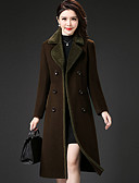 cheap Women's Coats & Trench Coats-Women's Going out Street chic / Sophisticated Coat - Solid Colored / Color Block