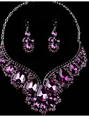 cheap Flower Girl Dresses-Women's Crystal Jewelry Set - Include Drop Earrings / Necklace Purple / Red / Blue For Wedding / Party