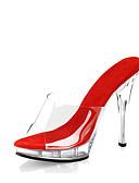 cheap Leggings-Women's Shoes PVC(Polyvinyl chloride) Summer / Fall Basic Pump / Light Up Shoes / Club Shoes Clogs & Mules Stiletto Heel / Platform Black