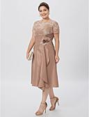 preiswerte Brautjungfernkleider-A-Linie Illusionsausschnitt Knie-Länge Taft Perlen-Spitze Brautmutterkleid mit Blume Seitlich drapiert durch LAN TING BRIDE®