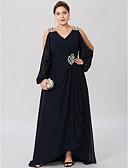 olcso Örömanya ruhák-Szűk szabású V-alakú Aszimmetrikus Sifon Sztreccs szatén Örömanya ruha val vel Kristály díszítés Cakkos által LAN TING BRIDE®