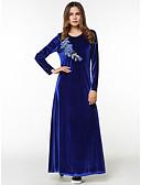 זול שמלות נשים-כחול מקסי אחיד רקמה - שמלה סווינג בגדי ריקוד נשים
