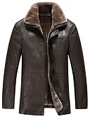 cheap Men's Jackets & Coats-Men's Simple / Casual Leather Jacket - Solid Colored Shirt Collar / Long Sleeve