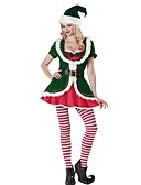 cheap Historical & Vintage Costumes-Santa Claus Mrs.Claus Costume Women's Christmas Festival / Holiday Polyster Green Carnival Costumes Mixed Color Holiday Christmas