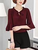 preiswerte Bluse-Damen Solide Bluse, V-Ausschnitt