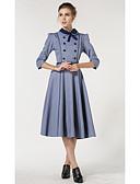 tanie Płaszcz i Trench-Damskie Wzornictwo chińskie Swing Sukienka - Kolorowy blok Kołnierzyk koszuli Midi