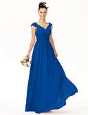 cheap Bridesmaid Dresses-A-Line V Neck Floor Length Chiffon Bridesmaid Dress with Bow(s) Lace Sash / Ribbon Pleats Ruched Criss Cross by LAN TING BRIDE®