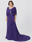 cheap Evening Dresses-Plus Size Sheath / Column V Neck Floor Length Sweep / Brush Train Chiffon Mother of the Bride Dress with Criss Cross by LAN TING BRIDE®