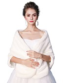 ราคาถูก ผ้าคลุมสำหรับชุดแต่งงาน-เสื้อไม่มีแขน ขนสัตว์เทียม งานแต่งงาน / งานปาร์ตี้ / งานราตรี Women's Wrap กับ โบว์สีขาว / ใบเมเปิล / Smooth ผ้าคลุมไหล่