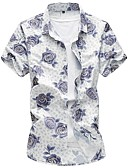 olcso Férfi nadrágok és rövidnadrágok-Kínai Férfi Pamut Ing - Virágos / Rövid ujjú