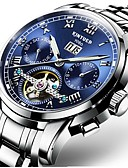 cheap Mechanical Watches-Men's Mechanical Watch Automatic self-winding Black / Silver 30 m Water Resistant / Waterproof Calendar / date / day Chronograph Luxury Casual Fashion - Blue Black / Blue White / Blue