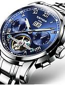 ieftine Ceasuri Mecanice-Bărbați ceas mecanic Mecanism automat Negru / Argint 30 m Rezistent la Apă Calendar Cronograf Lux Casual Modă - Albastru Negru / Albastru Alb / Albastru / Oțel inoxidabil / Gravură scobită