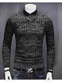 tanie Męskie swetry i swetry rozpinane-Męskie Codzienne Solidne kolory Długi rękaw Regularny Pulower, W serek Ciemnoszary