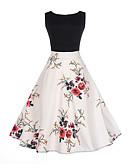 preiswerte Damen Kleider-Damen Ausgehen Blume Schlank A-Linie Kleid Blumen Patchwork Übers Knie