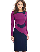 cheap Men's Ties & Bow Ties-Women's Plus Size Work Cotton Bodycon Dress - Color Block