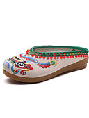 cheap Women's Dresses-Women's Shoes Linen Spring / Fall Comfort / Novelty Clogs & Mules Round Toe Beige / Red / Blue / Party & Evening