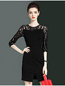 cheap Women's Dresses-Women's Going out Casual Sheath Dress - Solid Colored Fall Black L XL XXL