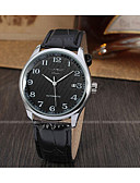 baratos Relógios Mecânicos-WINNER Homens Relógio de Pulso Calendário Couro Banda Vintage / Casual / Fashion Preta / Aço Inoxidável / Automático - da corda automáticamente