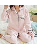 זול חלוקים & Sleepwear-בגדי ריקוד נשים כותנה מידות גדולות צווארון V חליפות פיג'מות - דפוס, צבע אחיד