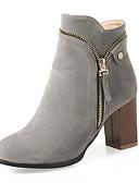 hesapli Kadın Kabanları ve Trençkotları-Kadın's Ayakkabı Nubuk deri Sonbahar / Kış Moda Botlar / Botinler Çizmeler Kalın Topuk Yuvarlak Uçlu Bootiler / Bilek Botları / Yarı-Diz