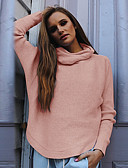 cheap Women's Sweaters-Women's Going out Long Sleeve Pullover - Solid Colored Turtleneck / Fall / Winter