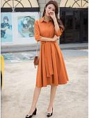 رخيصةأون فساتين للنساء-فستان نسائي ثوب ضيق أناقة الشارع طول الركبة لون سادة قبعة القميص
