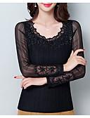 baratos Camisetas Femininas-Mulheres Camiseta Sólido Algodão Decote U / Outono / Rendas