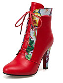 cheap Socks & Hosiery-Women's Shoes Leatherette Fall / Winter Fashion Boots / Bootie Boots Chunky Heel Lace-up White / Black / Red