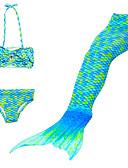 billige Badetøj til piger-Børn Pige Sød Stil Strand Havfruehale Lille Havfrue Ensfarvet Tegneserie Gradient Patchwork Badetøj Regnbue