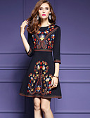 cheap Print Dresses-Women's Embroidery Going out Street chic A Line Dress - Patchwork Black Spring Black L XL XXL