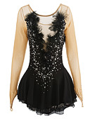 cheap Ice Skating Dresses , Pants & Jackets-Figure Skating Dress Women's / Girls' Ice Skating Dress Black Spandex, Lace Rhinestone / Appliques / Feathers / Fur High Elasticity