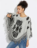 cheap Women's Sweaters-Women's Daily Print Long Sleeve Regular Pullover, Round Neck Fall Cotton Gray One-Size
